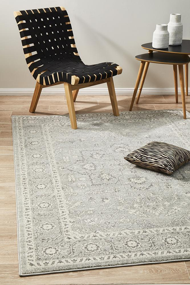 Image of Silver Flower Transitional Rug 230x160cm