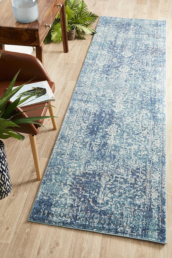 Image of Muse Blue Transitional Rug 400x80cm