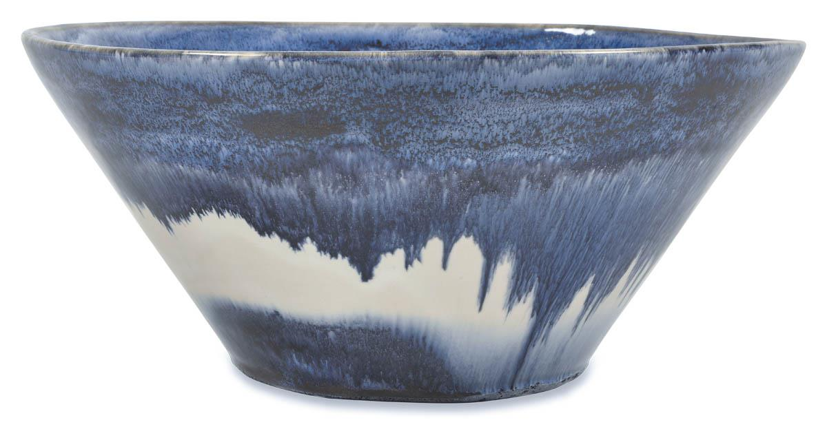 Image of Mediterranean Ceramic Glazed Bowl 36Cm - Blue/White