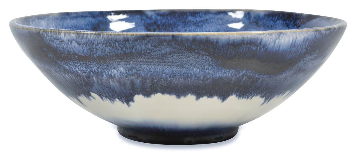 Image of Mediterranean Ceramic Glazed Bowl 28Cm- Blue/White