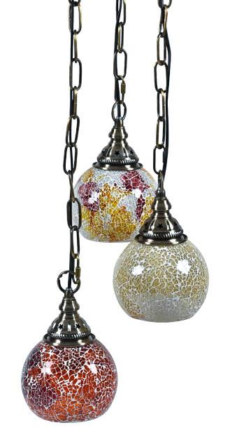 Image of Crackle Morroccan Set Of 3 Multi Colour Hanging Pendant - Pink Multi