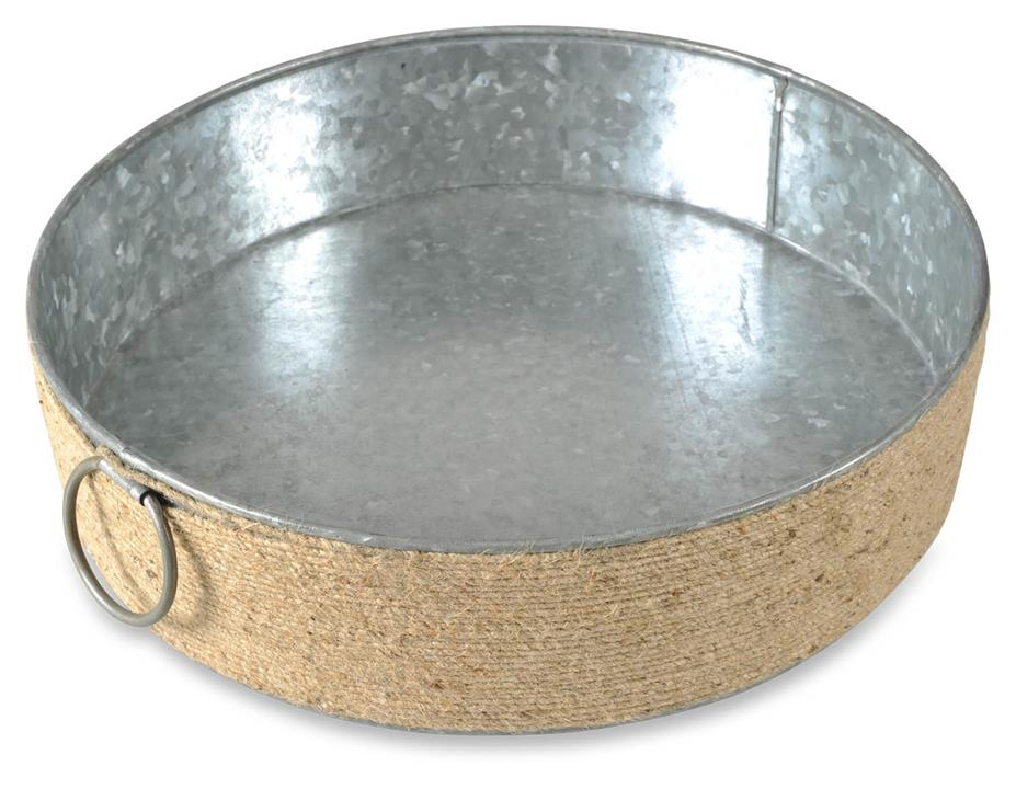 Image of Byron Round Iron Tray Withjute - Silver Oxidize/Natural