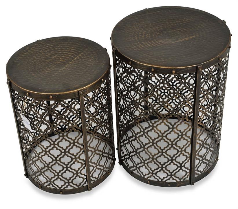 Image of Set Of 2 Jaipur Cutwork Side Table - Gold Antique