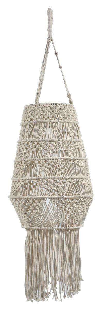 Image of Byron Macrame Long Pendant Light With Tassels - Off White