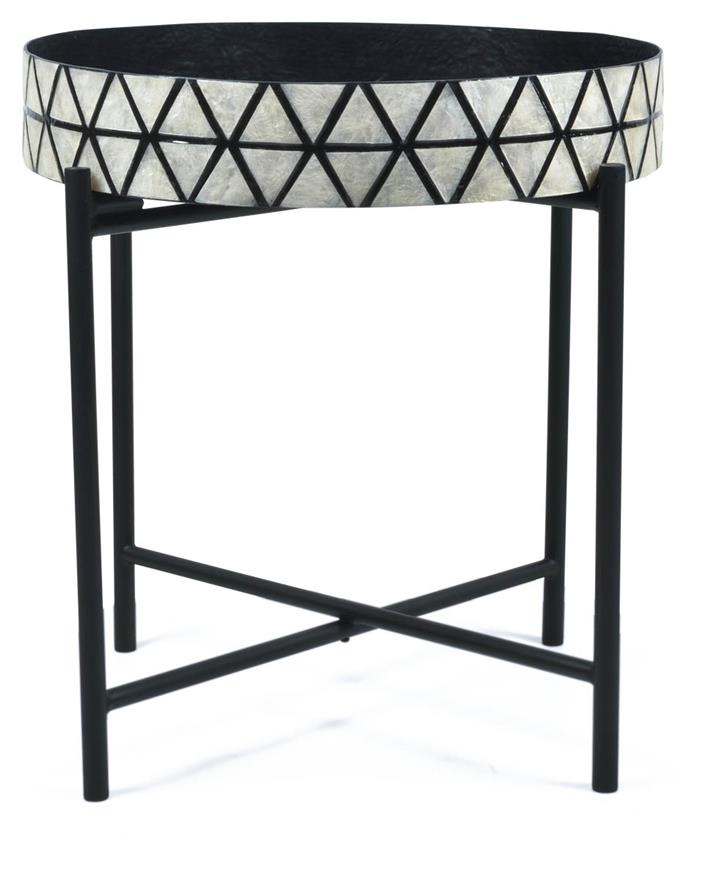 Tribajra Rnd Capiz And Wood And Metaltray Table With Folding Leg - Black/White
