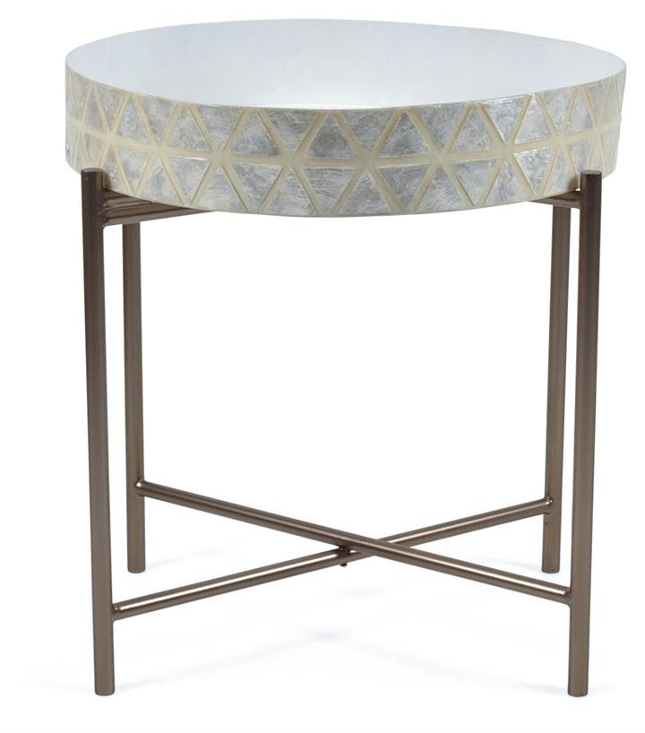 Tribajra Rnd Capiz And Wood And Metaltray Table With Folding Leg - White/Silver