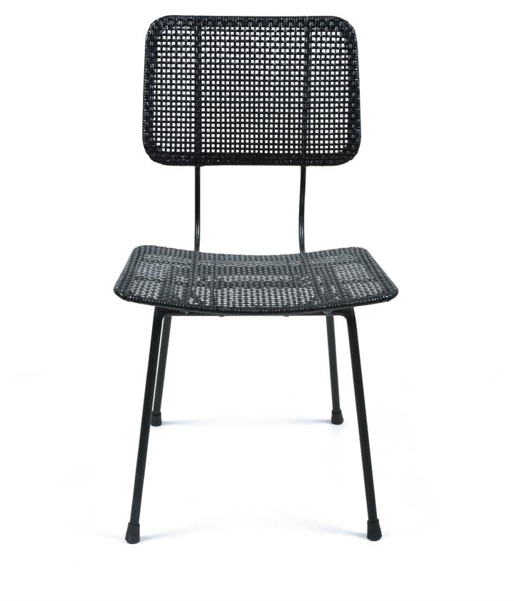Image of Gayo Rattan And Metal Dining Chair - Black