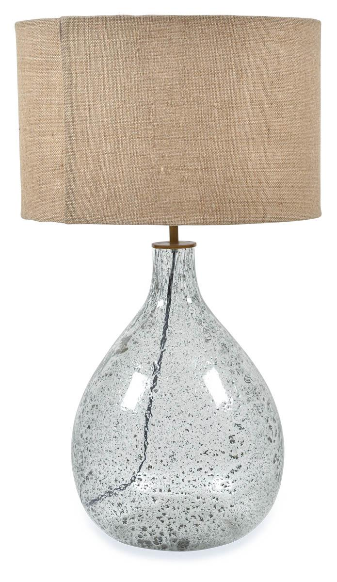 Tall Seeded Glass Table Lamp With Jute Shade - Glass/Natural
