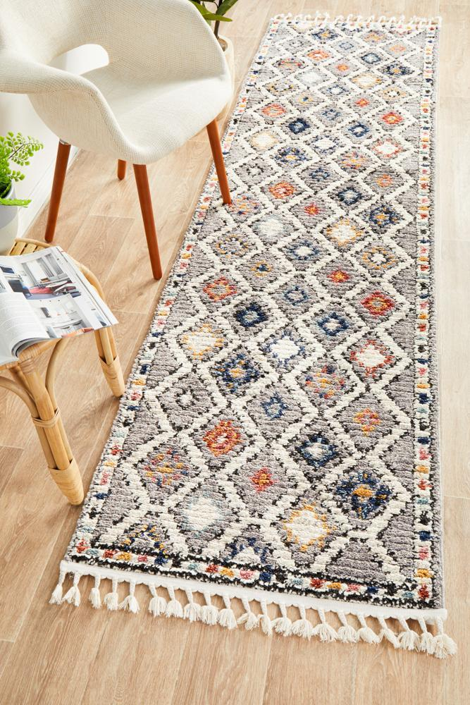 Image of Marrakesh 555 Grey Runner Rug - 300X80CM