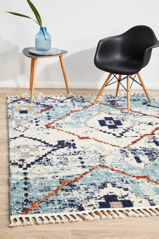 Image of Marrakesh 444 Blue Runner Rug - 300X80CM