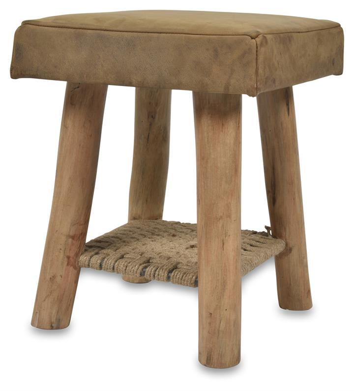Image of Napa Leather Stool with Jute - Tan/Natural