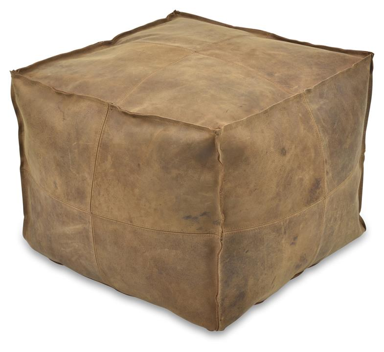 Image of Napa Leather Soft Square Ottoman - Tan