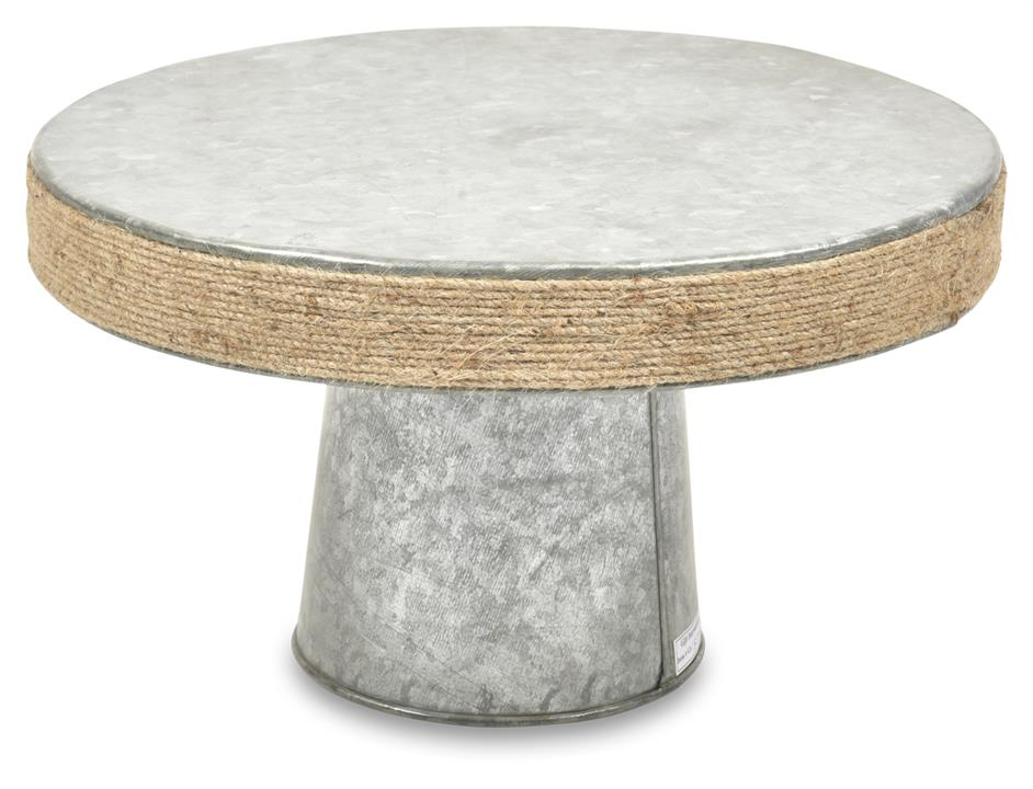Image of Byron Jute Border Cake Stand - Silver Oxidize/Natural
