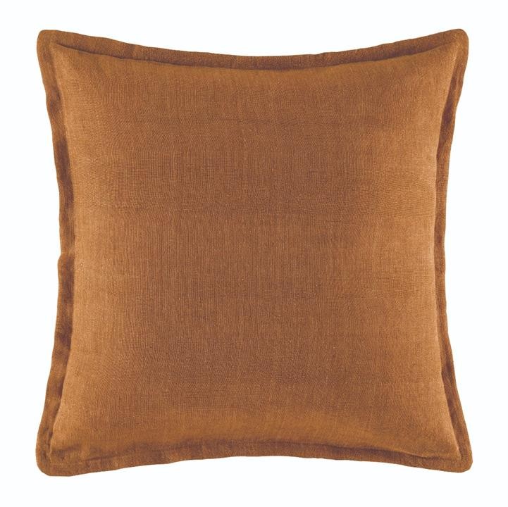 Image of Linen Cushion 50x50 - Mustard Square