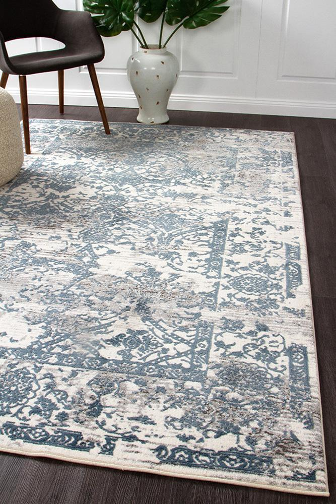 Image of Yasmin Distressed Transitional Rug White Blue Grey 230X160cm