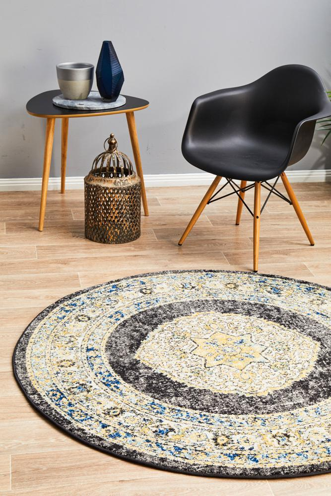 Image of Century 955 Charcoal Round Rug 200X200CM