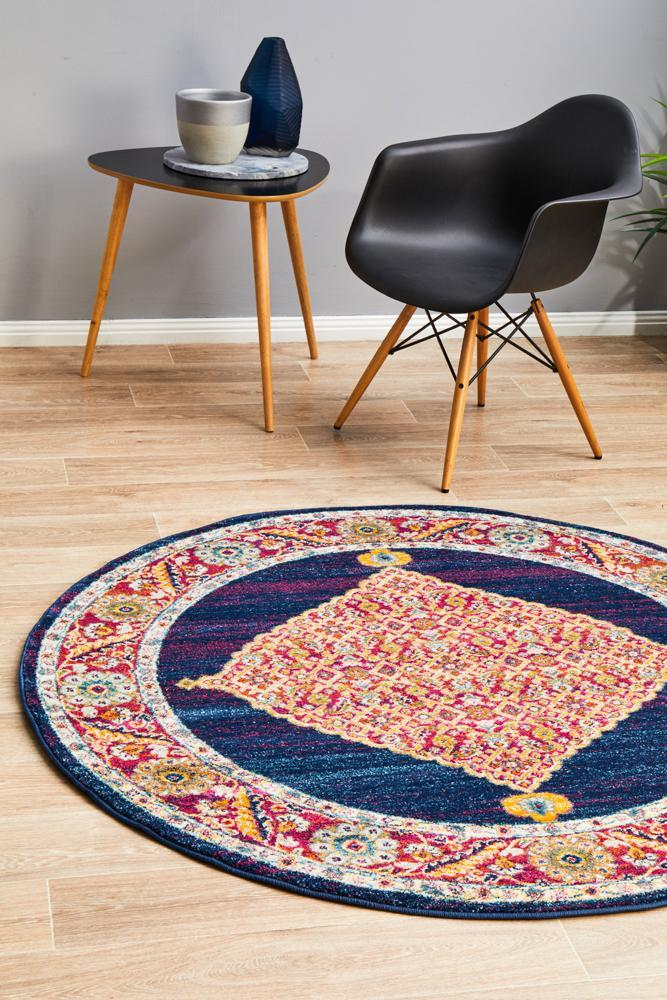 Image of Century 966 Royal Blue Round Rug 200X200CM