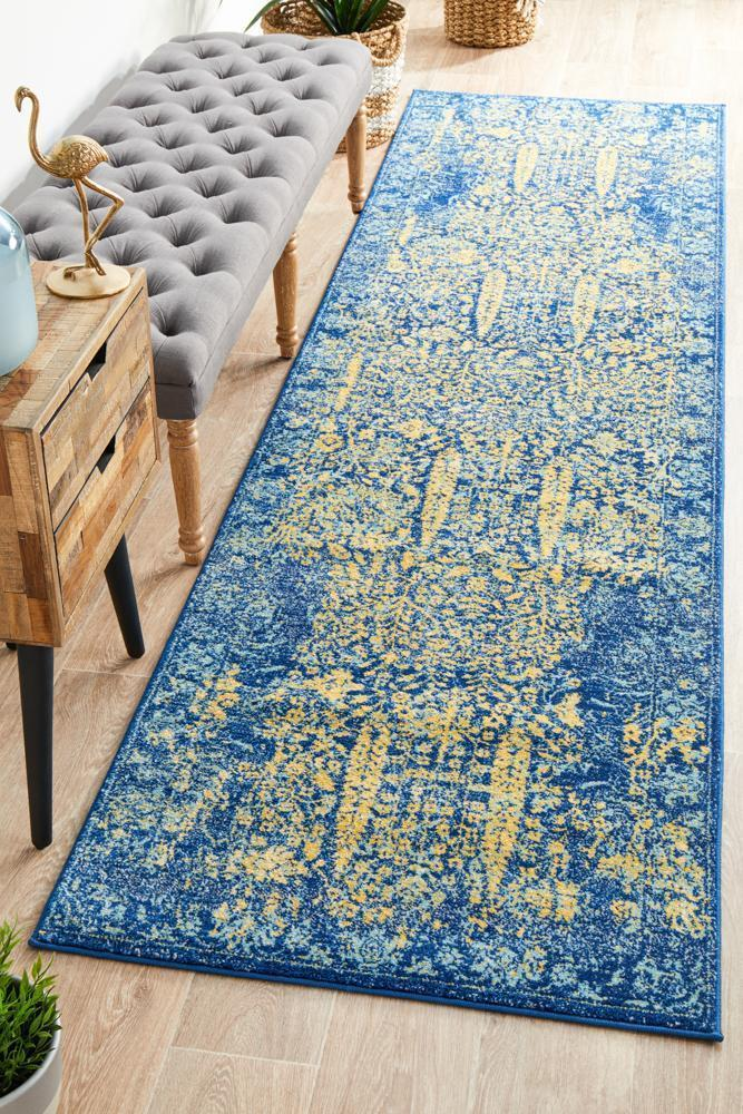 Image of Radiance 411 Royal Blue Runner Rug - 400X80CM