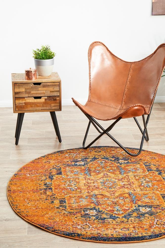 Image of Radiance 400 Rust Round Rug - 240X240CM