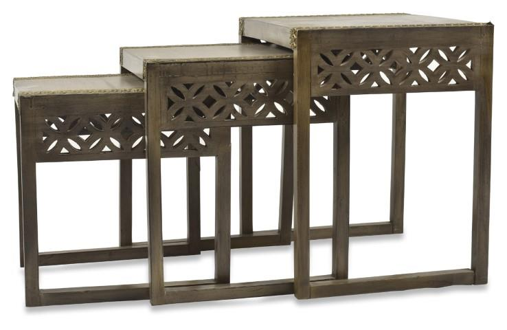 Image of Noida Set of 3 Wood and Brass Nested Tables
