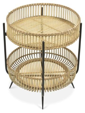 Image of Two Tier Bamboo and Metal Side Table - Natural
