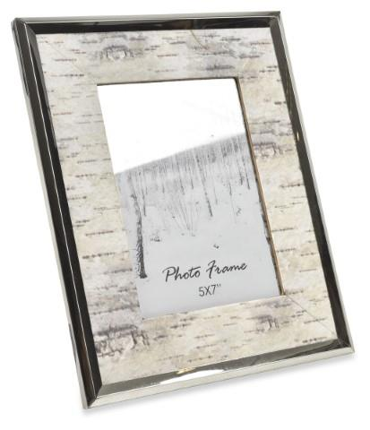 Image of Norway Wood and Steel Picture Frame Large - Silver/White