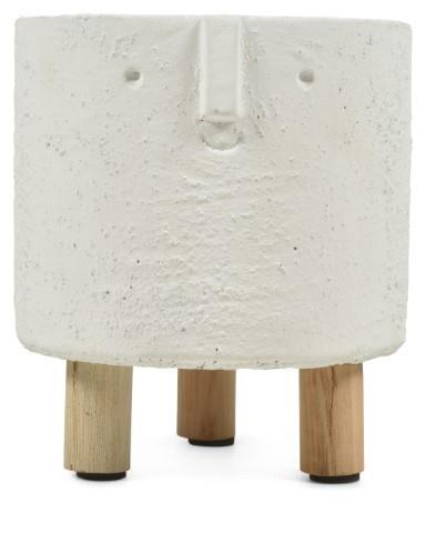 Image of Sara Ceramic Face planter on legs Medium - White