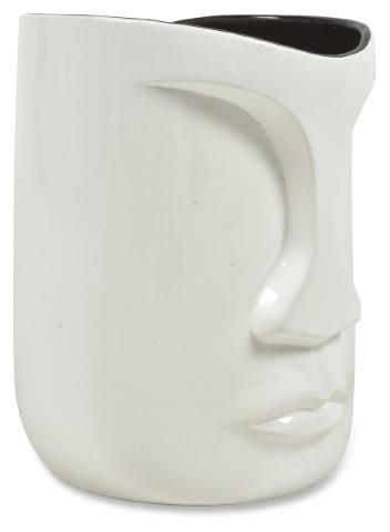 Image of The Face Medium Planter - Pearl White