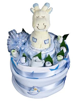 Image of Macarthur Baskets - Baby Boy Nappy Cake - Baby Hamper