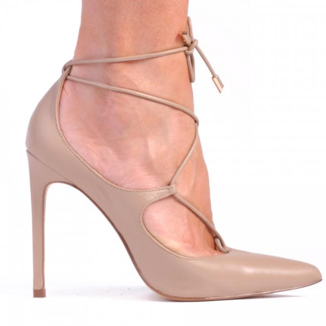 Image of Anna is the lace-up stiletto style that makes an outfit pop. Features metal rivets and cross over lace-up upper with pointed toe. Ultra-glam and sexy.    Fabric description:    * Upper: 100% Leather * Lining: Synthetic * Heel height: 11cm    Unleash your