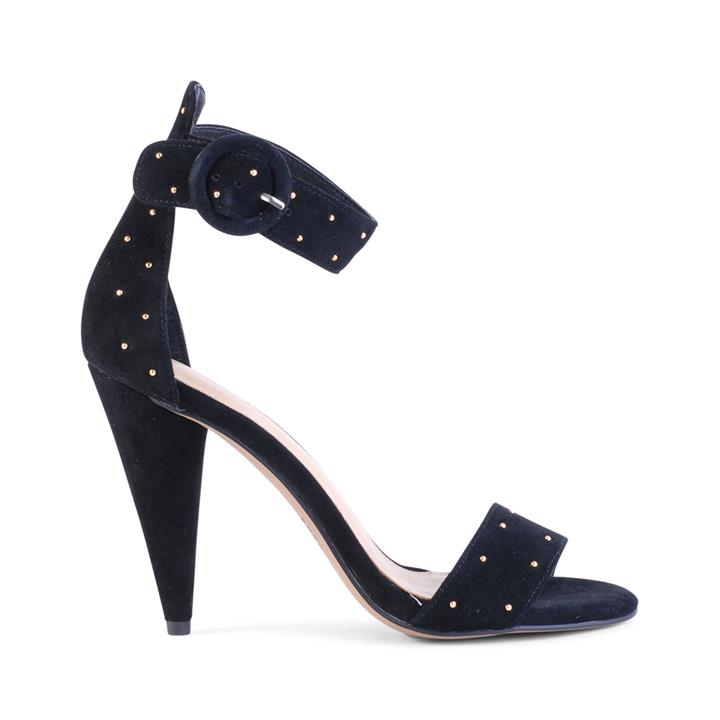 Image of The SS18 micro studded suede cone heel. Beautiful detailing and super flattering statement heel style.    Fabric description:    * Upper: 100% Suede * Lining: Synthetic * Heel height: 10.5cm * Heel type: Covered cone heel * Fastening: Ankle buckle fasteni