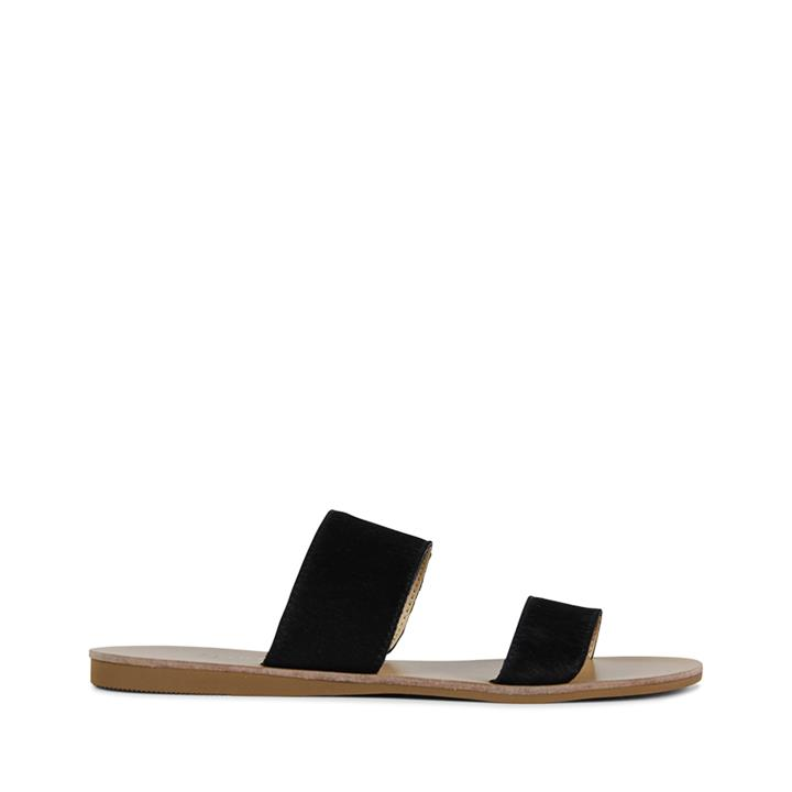Image of Bello! Slide on style features double vamp strap. Available in 4 colours, these are Summer essentials!    Product description:    * Upper: 100% Leather * Lining: Synthetic * Heel height: 1cm * Fastening: Slide on  * Fitting: Style is fitting normally * Si