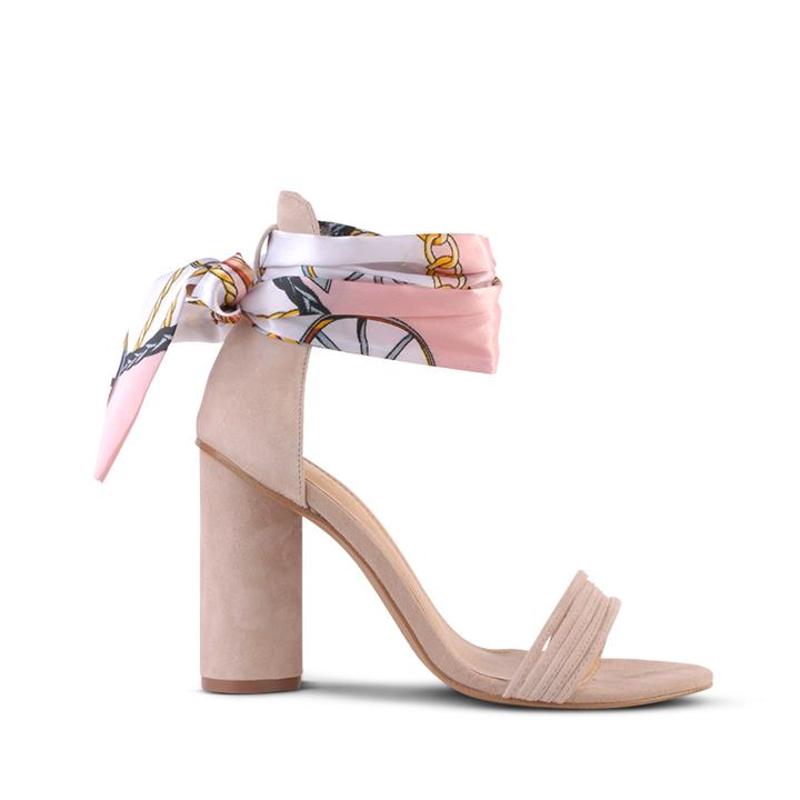Image of The Kallista block heel with removable satin tie and 4x thin strap toe cover.    Fabric description:    * Upper: 100% Suede * Lining: Synthetic * Heel height: 10.5cm * Heel type: Block heel * Fastening: Ankle buckle fastening * Fitting: Style is fitting n