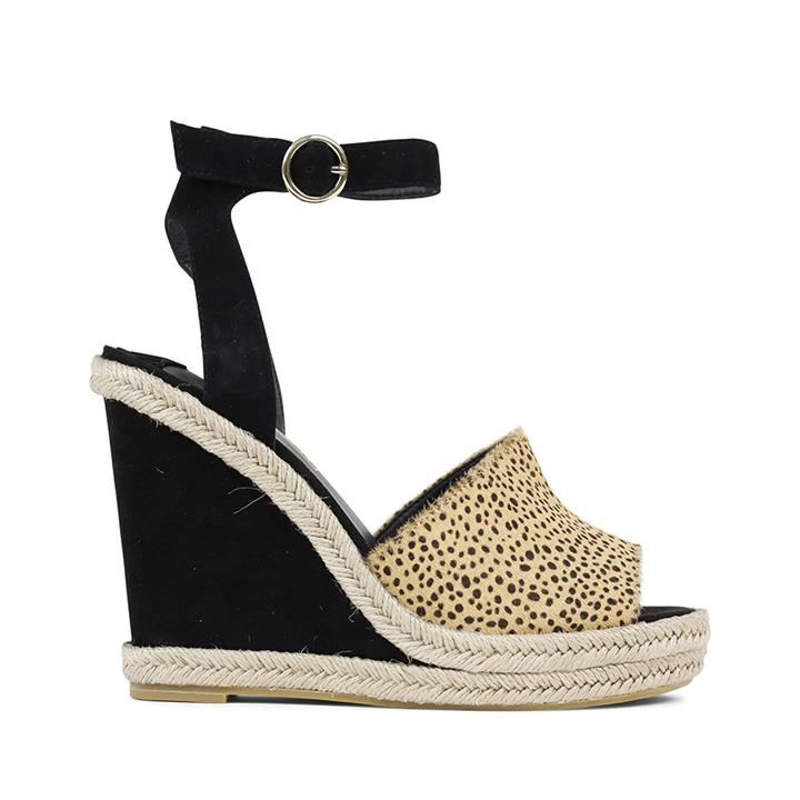Image of SS18 statement espadrille platform wedge with a buckle ankle strap and fun leopard peep-toe vamp.    Fabric description:    * Upper: 100% Suede * Lining: Synthetic * Wedge height: 8.5cm * Wedge type: Woven lightweight covered wedge with platform * Fasteni