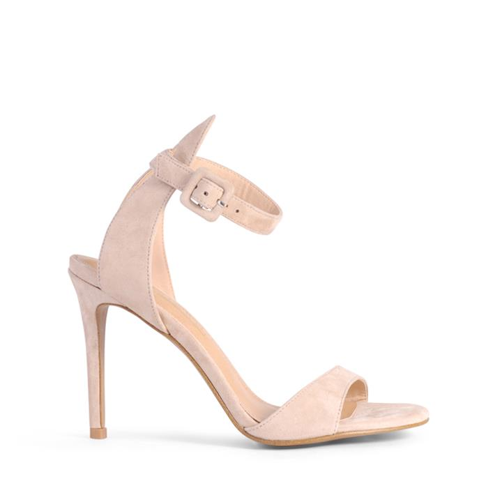 Image of The Didier stiletto! Simple style making them a wardrobe staple! Features, open toe, open heel counter and ankle strap with adjustable buckle fastening.    Product description:    * Upper: PU * Lining: Synthetic * Heel height: 10cm * Fastening: Adjustable