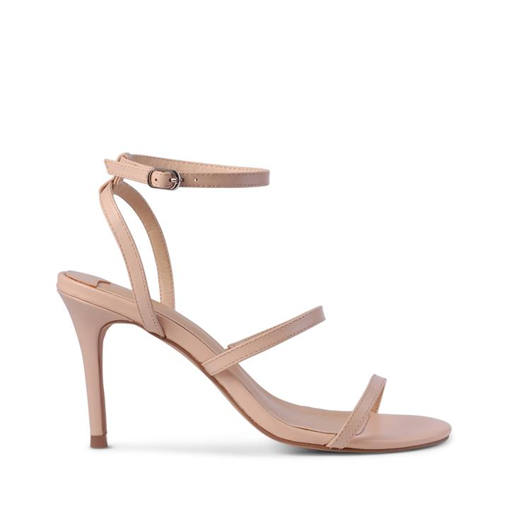 Image of Features open toe and open heel counter, 3x slim strap detail and adjustable buckle fastening at ankle. Elegant and simple; these are a wardrobe staple.    Product description:    * Upper: 100% Leather * Lining: Synthetic * Heel height: 9cm * Fastening: A