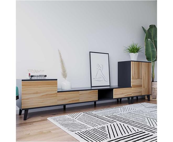Collins Entertainment Unit with Shelves - Black