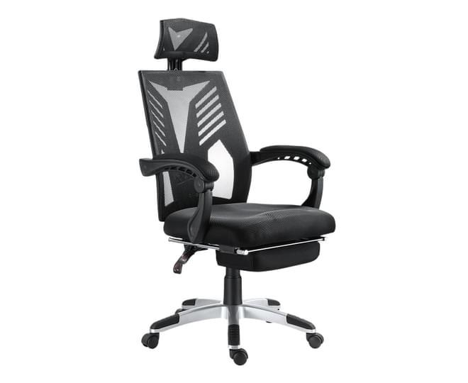 Executive High Back Mesh Office Computer Chair with Retractable Footrest