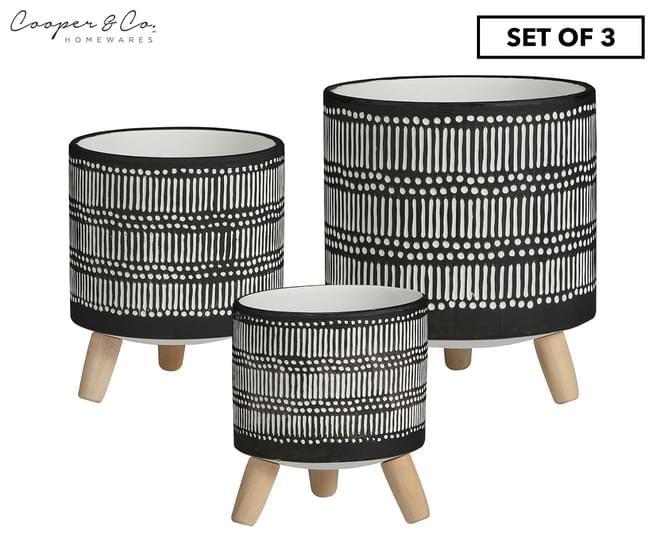 Cooper & Co. Set of 3 Nested White Stripe Terracotta Pots