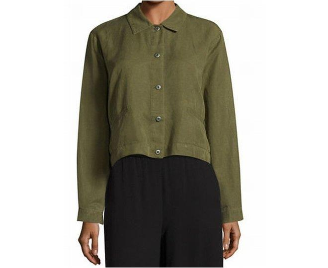 eileen fisher olive green womens us size small s cropped jacket