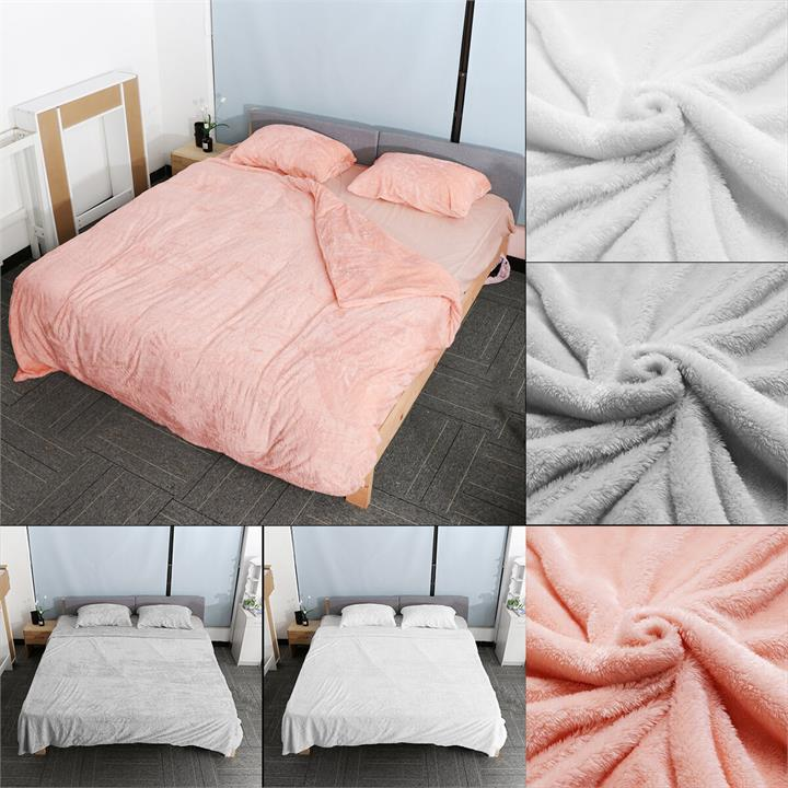 Winter Plush Duvet Cover Solid Color Long Plush Thickened Quilt Cover Pillowcase Plush Comforter Set For Bed Set