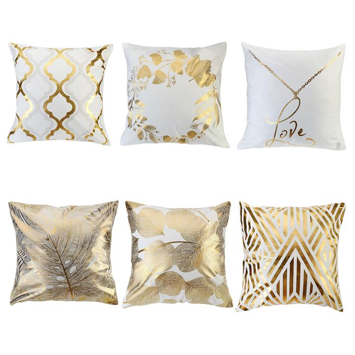 45 X 45Cm Cushion Gold Leaves Geometric Pattern Pillow Cover Square Decorative Pillowcases For Decor Sofa Chair