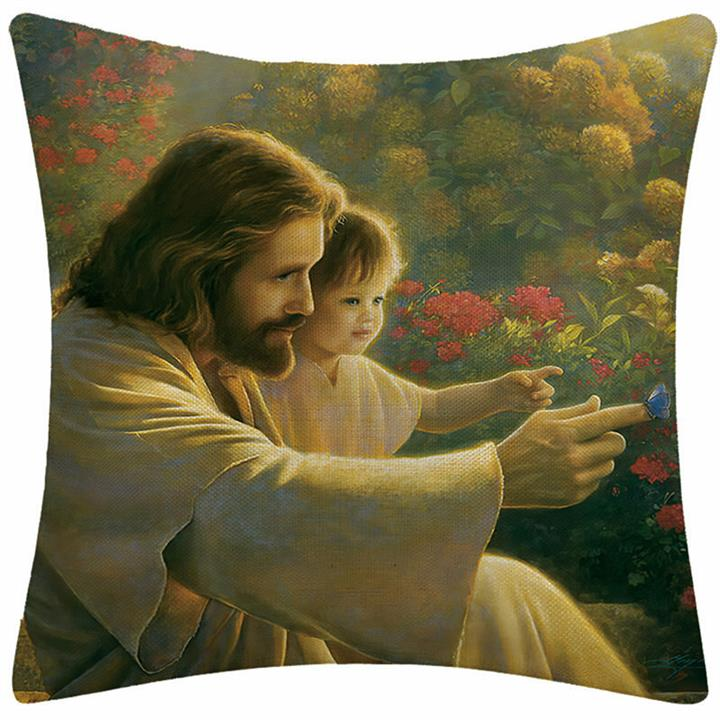 Oil Painting Pillow Case Christian Jesus Pillow Case Cushion Cover