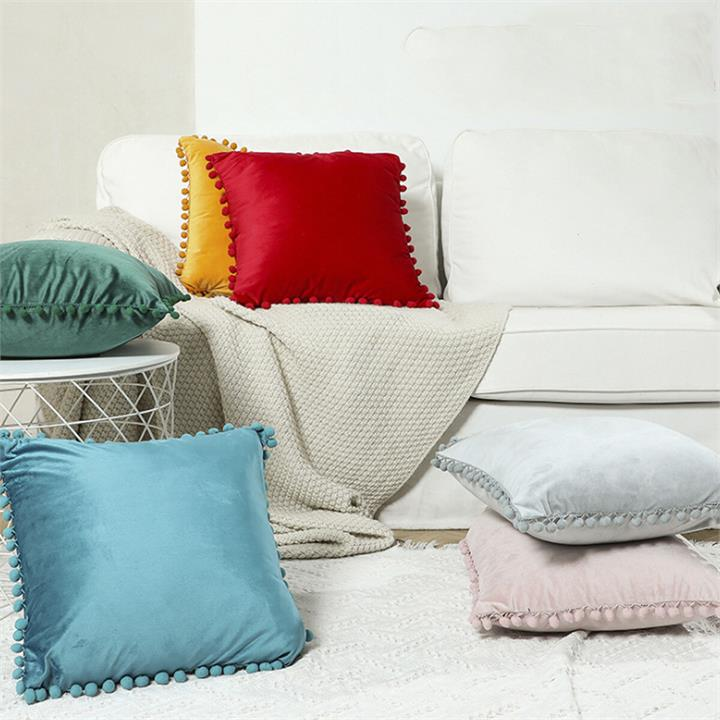 45*45Cm Soft Velvet Pillow Covers Cute Pom Poms Throw Pillow Covers Square Cushion Case For Sofa Couch Home Decor