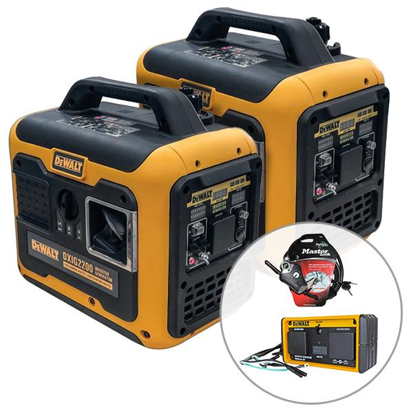 Image of 2 x DeWalt DXIG2200, 2200W Inverter Generator with Parallel Kit (Combined 3500W), 3 Year Warranty