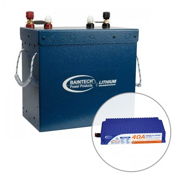 Image of Baintech 12V 150Ah Standard Power Compact Lithium Battery with 40A DC-DC Battery Charger, 5 Year Warranty