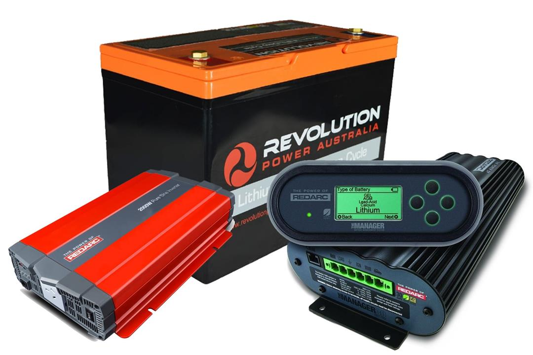 Image of Revolution 100Ah Lithium Battery + Redarc Manager30 + 1000W Inverter Solution, 3 Year Warranty
