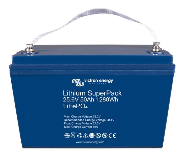 Image of Victron Lithium SuperPack 25,6V/50Ah with M8 threaded insert terminals, 2 Year Warranty