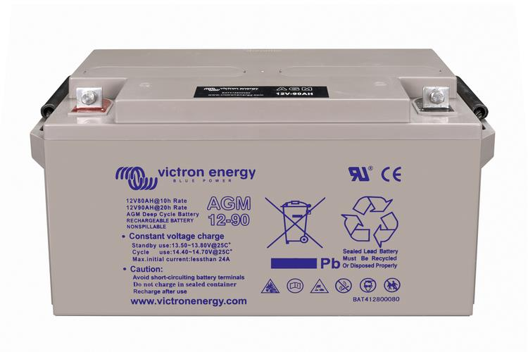 Image of Victron 12V/90Ah AGM Deep Cycle Battery with M6 threaded terminals, 2 Year Warranty