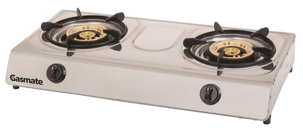 Image of Gasmate Twin Burner Stainless Steel Wok Style Cooker, 1 Year Warranty